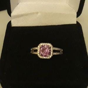 Aamathyst And Diamond Princess Cut Ring